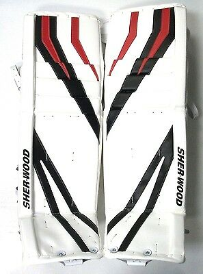 $299.99 • Buy New Sherwood T95 Senior Goal Ice Hockey Goalie Leg Pads White/black/red Sr 35+1