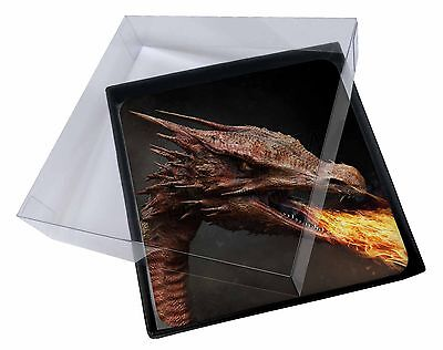 £9.98 • Buy 4x Fierce Fire Flame Mouth Dragon Picture Table Coasters Set In Gift Bo, DRAG-2C