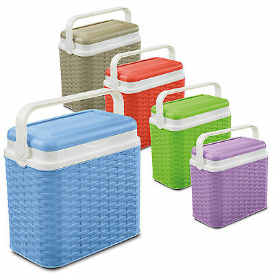 10 Litre Rattan Design Small Cooler Box Camping Beach Picnic Travel 1 Ice Pack • 11.99£