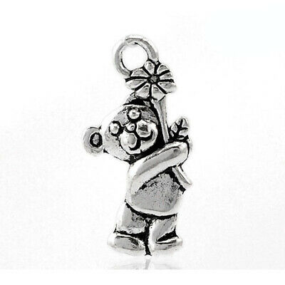 Teddy Bear Charm/Pendant Tibetan Antique Silver 19mm  12 Charms Accessory Crafts • 1.89£