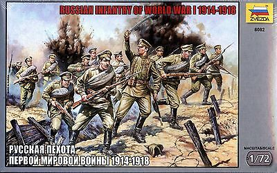 Zvezda 1/72 8082 WWI Russian Infantry 1914-1918 (40 Figures, 12 Poses) • 15.92£