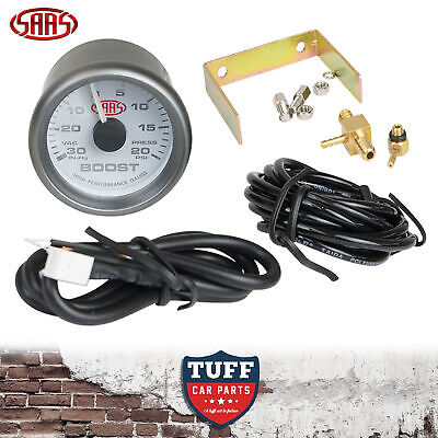 AU60 • Buy SAAS Turbo Boost Vacuum Gauge White Face Dial 52mm Multi Colour + Fitting Kit