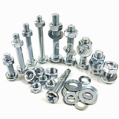 £3.39 • Buy M2 & M2.5 Zinc Machine Pozi Pan Head Screws Bolts With Full Nuts & Thick Washers