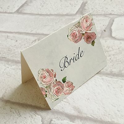 £3.50 • Buy Wedding Table Guest Place Name Cards - Pink Rose Vintage Style - Set Of 10