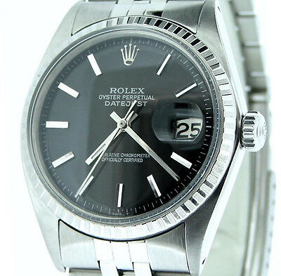 $ CDN4469.77 • Buy Rolex Datejust Stainless Steel Watch Jubilee Engine-Turned Bezel Black Dial 1603