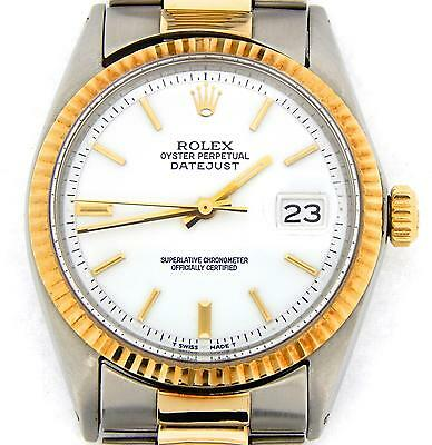 $ CDN5748.49 • Buy Rolex Datejust Mens Stainless Steel & Yellow Gold Watch Oyster White Dial 1601