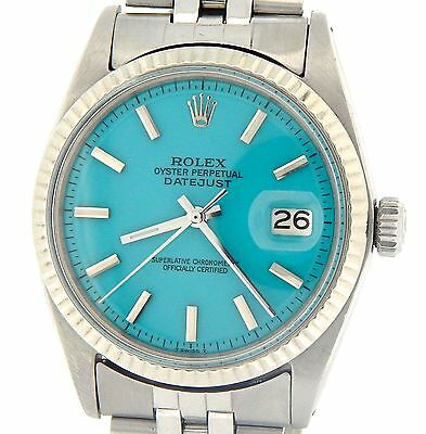 $ CDN5108.31 • Buy Rolex Datejust Mens Stainless Steel & 18K White Gold Turquoise Blue Dial Watch