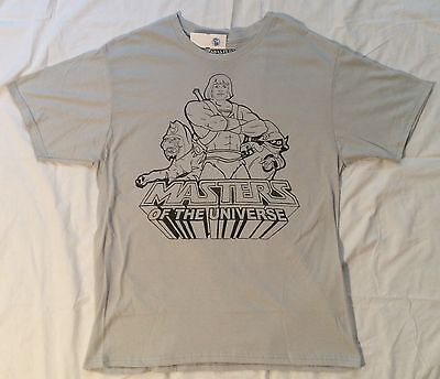 $11.90 • Buy Mens L HE-MAN Masters Of The Universe PENCIL DRAWING T-SHIRT Grey BATTLE CAT Art