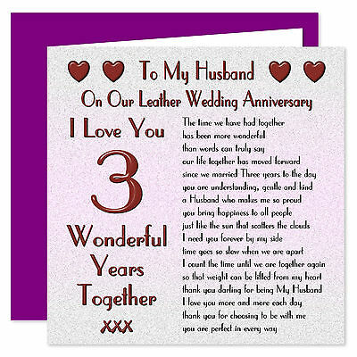 My Husband 1st - 70th Years - On Our Wedding Anniversary Card - I Love You Verse • 3.99£