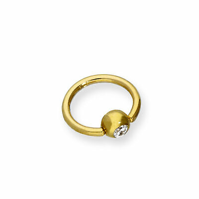 AU57.05 • Buy Real 375 9ct Gold & Clear CZ Crystal Ball Closure Ring Nose Ring BCR Body