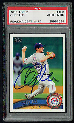 $55 • Buy Cliff Lee #103 Signed Autograph Auto 2011 Topps Baseball Card PSA Slabbed