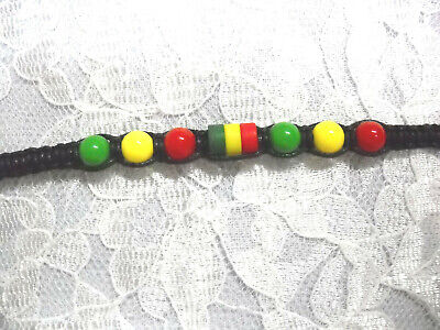 $3.29 • Buy Reggae Black Macrame Weave Rasta Red Green Yellow Tie Bracelet Or Anklet 7 - 11