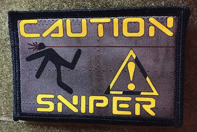 $7.99 • Buy Caution Sniper Morale Patch Tactical Military Army Badge Hook Flag
