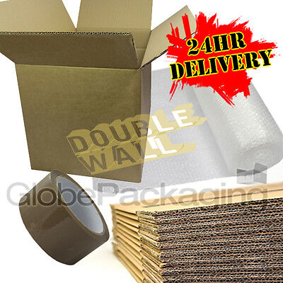 NEW 10 X LARGE DOUBLE WALL Cardboard House Moving Boxes - Removal Packing Box • 15.90£
