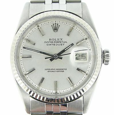 $ CDN4993.63 • Buy Rolex Datejust Mens Stainless Steel 18K White Gold Jubilee With Silver Dial 1601