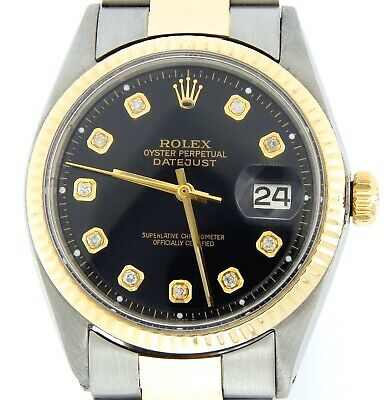$ CDN5749.86 • Buy Mens Rolex Datejust 2tone Yellow Gold Stainless Steel Watch Black Diamond Dial