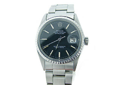 $ CDN4994.82 • Buy Rolex Datejust Mens Stainless Steel Watch Oyster Style Band Black Dial 1603