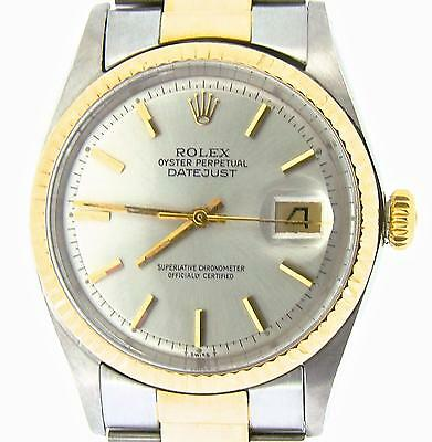 $ CDN5516.22 • Buy Rolex Datejust Mens Two-Tone 14K Gold Stainless Steel Oyster W/ Silver Dial 1601