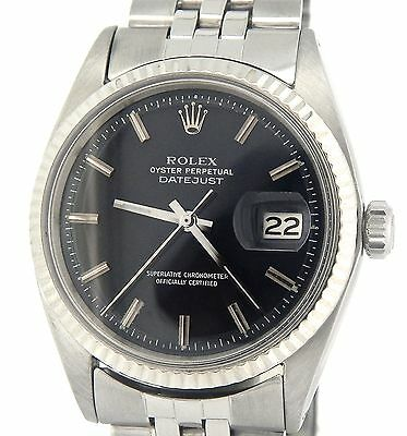 $ CDN5342.03 • Buy Rolex Datejust Mens Stainless Steel & 18K White Gold Black Watch Jubilee 1601
