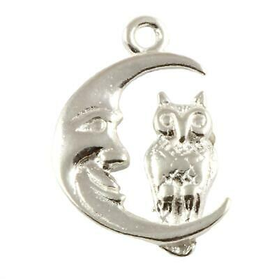 £6.50 • Buy Owl On Moon Sterling 925 Silver Charm