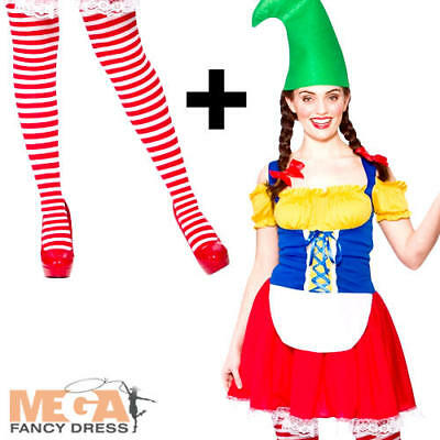Cute Gnome + Tights Ladies Fancy Dress Garden Elf Womens Christmas Adult Costume • 14.99£
