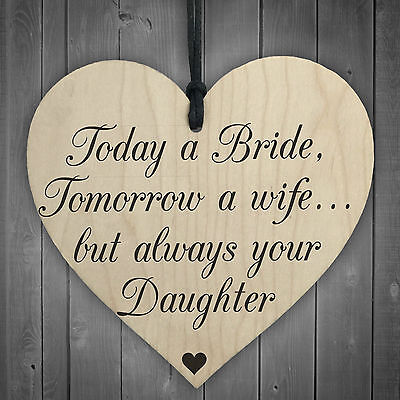 Bride Wife Daughter Wooden Hanging Heart Wedding Plaque Shabby Chic Present Sign • 3.99£