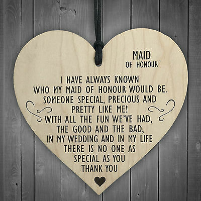 Maid Of Honour As Special As You Wooden Hanging Heart Plaque Wedding Gift Sign • 3.99£