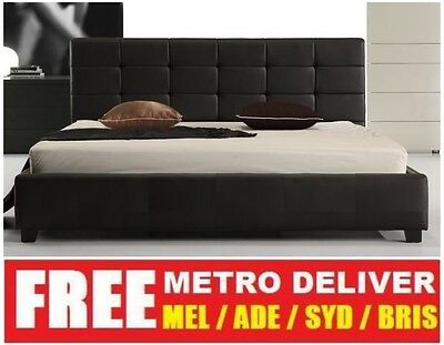 AU189 • Buy Milan Double Queen Or King Size Black White Pu Leather Wooden Bed Frame