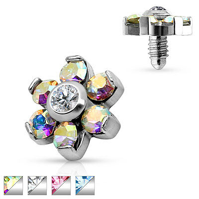 £4.93 • Buy Prong Set CZ Flower Surgical Steel Internally Threaded Micro Dermal Anchor Top