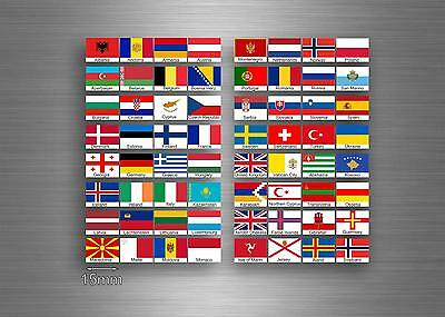 £4.15 • Buy Set 64x Sticker European Europe Flag Scrapbooking Country Collection 1,5cm Stamp