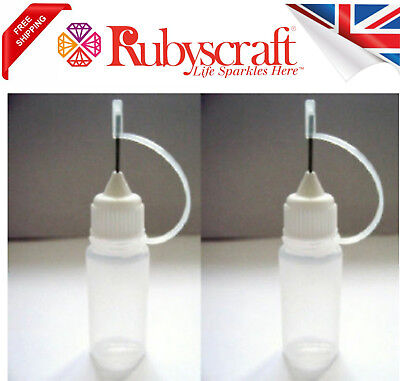 2pc Empty 15ml Bottle Precision/Needle Tip -Ideal For Filling GEMTAC Or Glue • 2.95£
