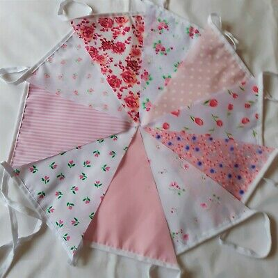 £3.75 • Buy 10ft/3 Metres Fabric Bunting Shabby Chic Garden Vintage Multiple Choice Handmade