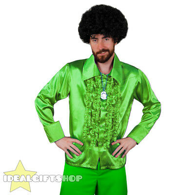 Mens Green 1970's Disco Ruffle Shirts Adults Fancy Dress Costume 70's Frilly Top • 8.99£
