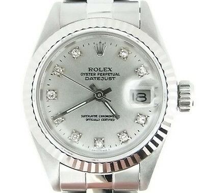 $ CDN4386.86 • Buy Rolex Datejust Ladies Stainless Steel/18k White Gold Watch Silver Diamond Dial