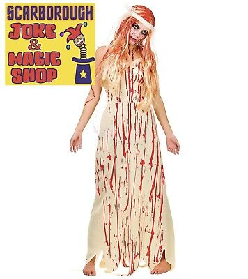 Blood Covered Bride Costume ~ Ladies Halloween Fancy Dress ~ Zombie Carrie NEW • 7.99£