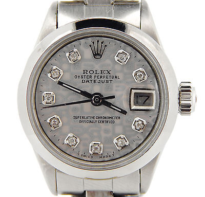 $ CDN3909.35 • Buy Rolex Datejust Lady Stainless Steel Watch Oyster Silver Anniversary Diamond Dial