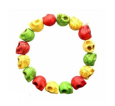 $2.99 • Buy Magnesite Rasta Colors Carved Skull Beads Halloween Day Of The Dead Bracelet