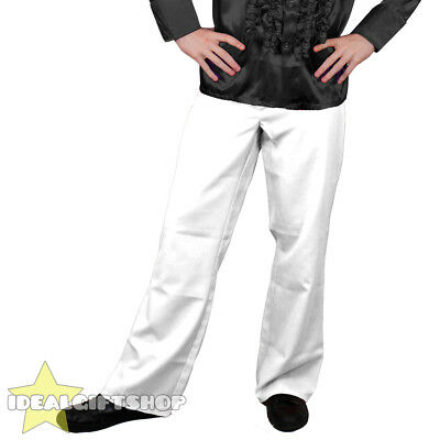 Mens White 1970's Disco Trousers Pants Fancy Dress Costume Flares 70s 1960's 60s • 7.99£