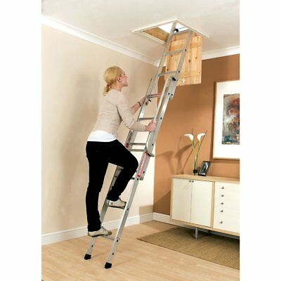 Youngman Easiway 313340 Sliding Loft Access Ladder 3 Section Aluminium 3m • 64.95£