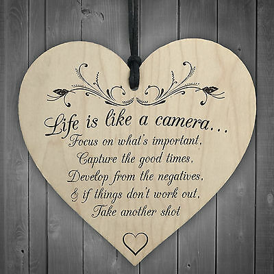 £3.99 • Buy Life Is Like A Camera Sign Plaque Gift Shabby Chic Wood Hanging Heart Thank You