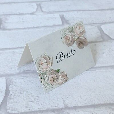 £3.50 • Buy Wedding Table Guest Place Name Cards - Cream Rose Vintage Style - Set Of 10