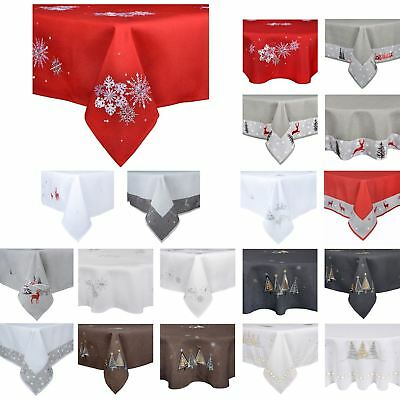 Christmas Tablecloth Festive Pattern Rectangle Round Fabric Xmas Room Decoration • 30£