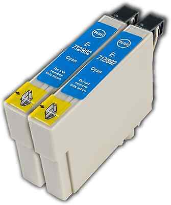 2 Cyan T0712 Non-OEM Ink Cartridge For Epson Stylus DX7450 DX8400 DX8450 DX9400 • 4.45£