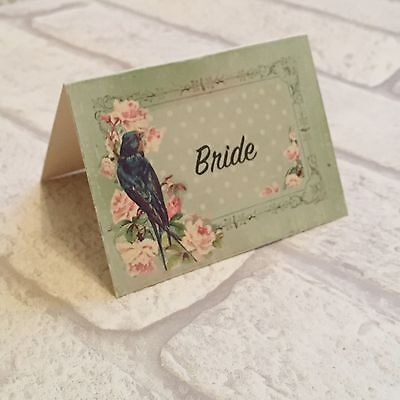 £3.50 • Buy Wedding Table Guest Place Name Cards - Pastel Green Bird Vintage Set Of 10