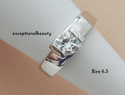 $9.99 • Buy 1/2 Ct Solitaire Cubic Zirconia Stainless Steel Band Size 6.5 Ring