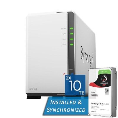 AU1590 • Buy Synology DiskStation DS218j 2 Bays NAS + 20TB 2x Seagate 10TB ST10000VN0008