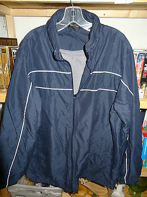 $16.50 • Buy TEK GEAR Jacket Size Large Zip Front Hooded Navy With White Stripe