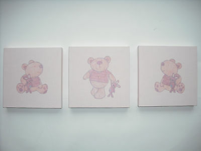 3 Nursery Children's Room I Love My Bear Babies R Us Wall Hangings Art Girl Pink • 9.95£
