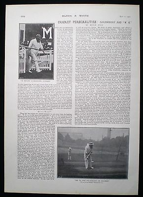W. G. GRACE & ARTHUR SHREWSBURY CRICKETERS CRICKET PLAYER 1pp PHOTO ARTICLE 1901 • 8£