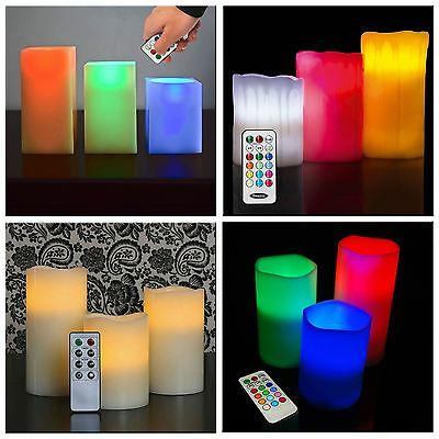 Smooth/Drip Flickering Flame LED Flameless Wax Mood Colour Ivory Candles Xmas • 7.95£